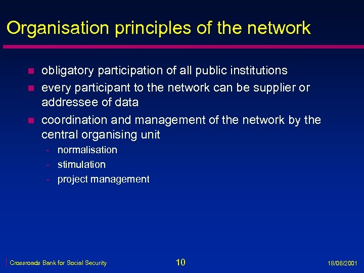 Organisation principles of the network n n n obligatory participation of all public institutions