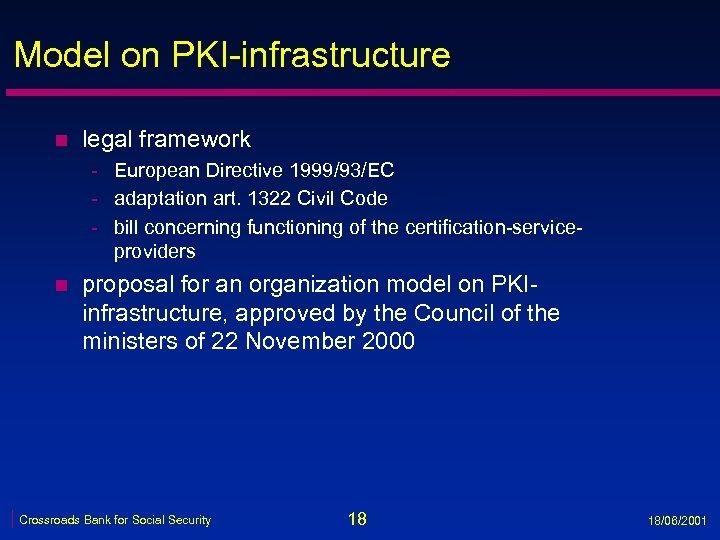 Model on PKI-infrastructure n legal framework - European Directive 1999/93/EC - adaptation art. 1322