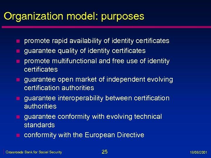 Organization model: purposes n n n n promote rapid availability of identity certificates guarantee