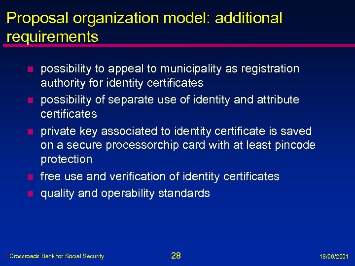 Proposal organization model: additional requirements n n n possibility to appeal to municipality as