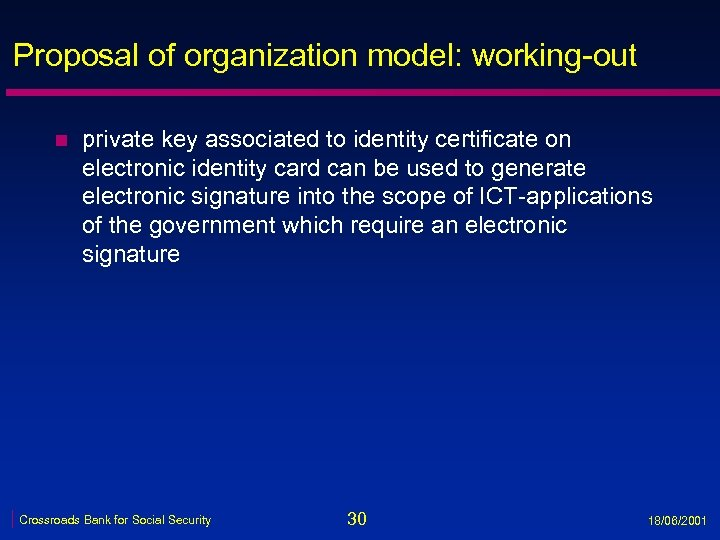 Proposal of organization model: working-out n private key associated to identity certificate on electronic