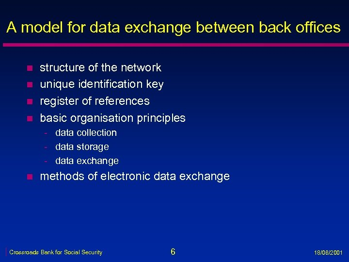 A model for data exchange between back offices n n structure of the network