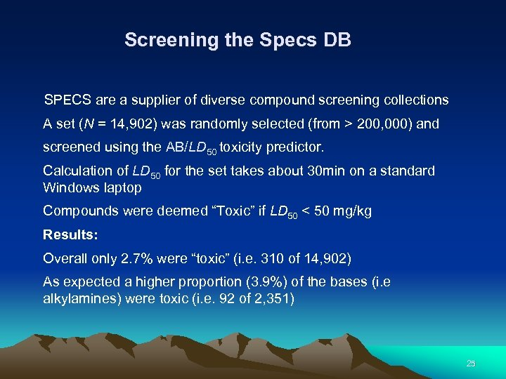 Screening the Specs DB SPECS are a supplier of diverse compound screening collections A