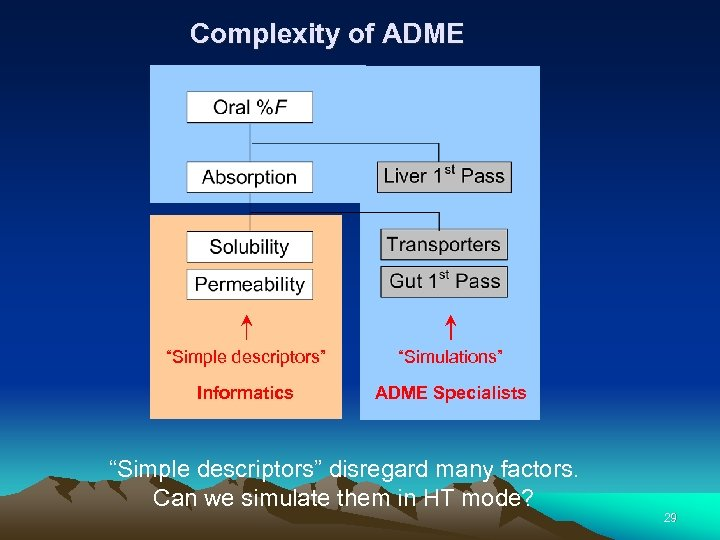 "Complexity of ADME ""Simple descriptors"" ""Simulations"" Informatics ADME Specialists ""Simple descriptors"" disregard many factors."