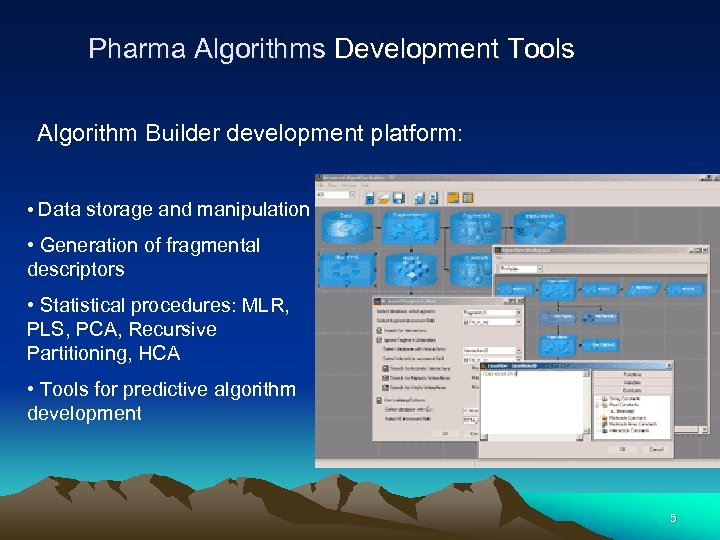 Pharma Algorithms Development Tools Algorithm Builder development platform: • Data storage and manipulation •