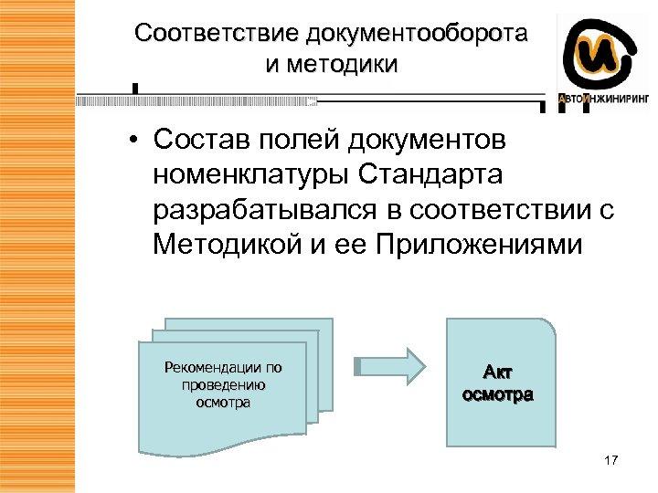 Соответствие документооборота и методики • Состав полей документов номенклатуры Стандарта разрабатывался в соответствии с