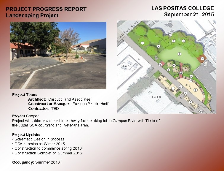 PROJECT PROGRESS REPORT Landscaping Project LAS POSITAS COLLEGE September 21, 2015 Project Team: Architect: