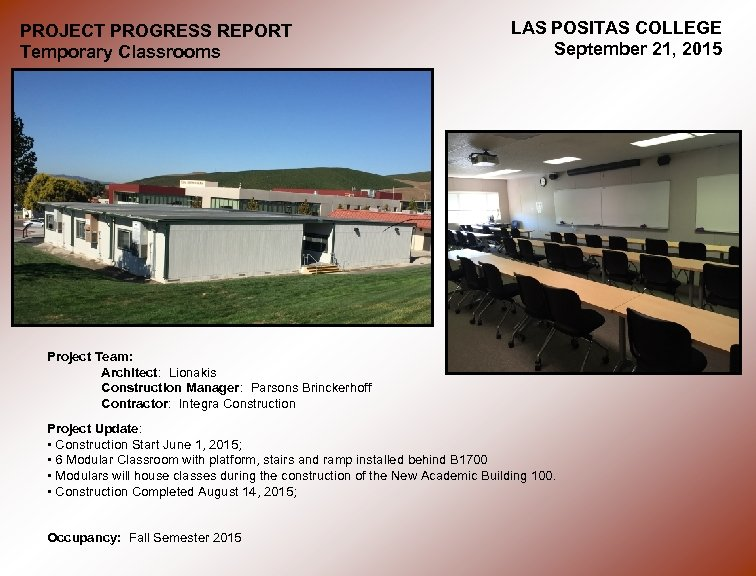 PROJECT PROGRESS REPORT Temporary Classrooms LAS POSITAS COLLEGE September 21, 2015 Project Team: Architect: