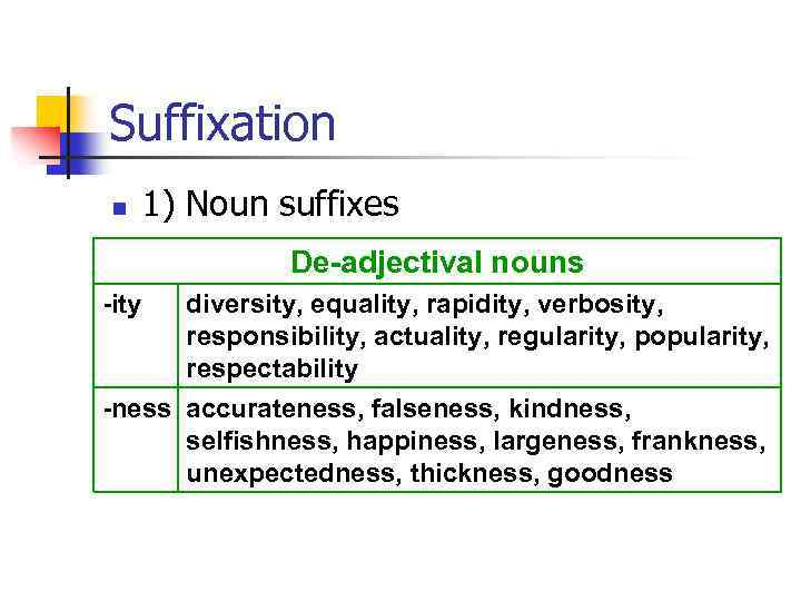 Suffixation n 1) Noun suffixes De-adjectival nouns -ity diversity, equality, rapidity, verbosity, responsibility, actuality,