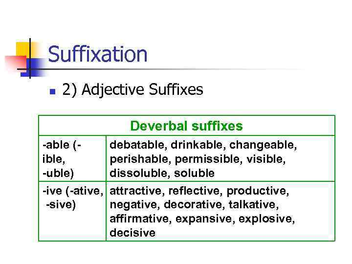 Suffixation n 2) Adjective Suffixes Deverbal suffixes -able (ible, -uble) debatable, drinkable, changeable, perishable,