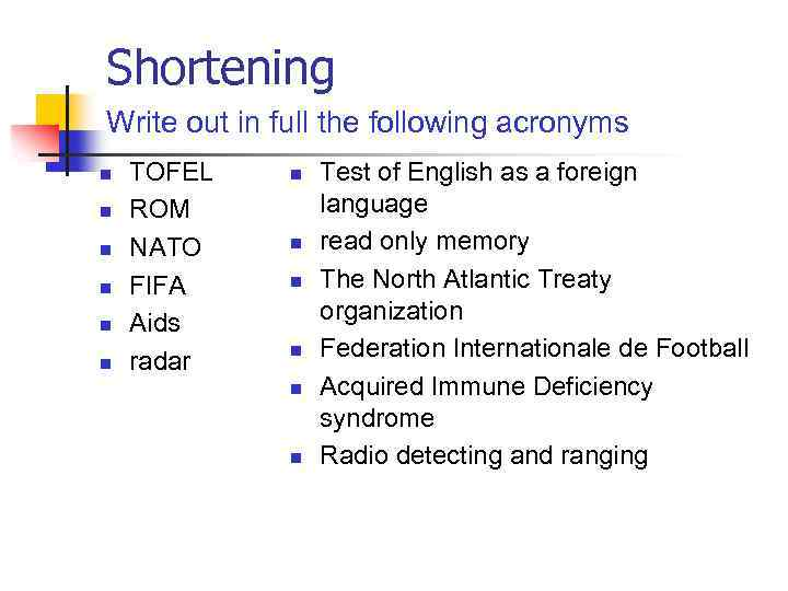 Shortening Write out in full the following acronyms n n n TOFEL ROM NATO
