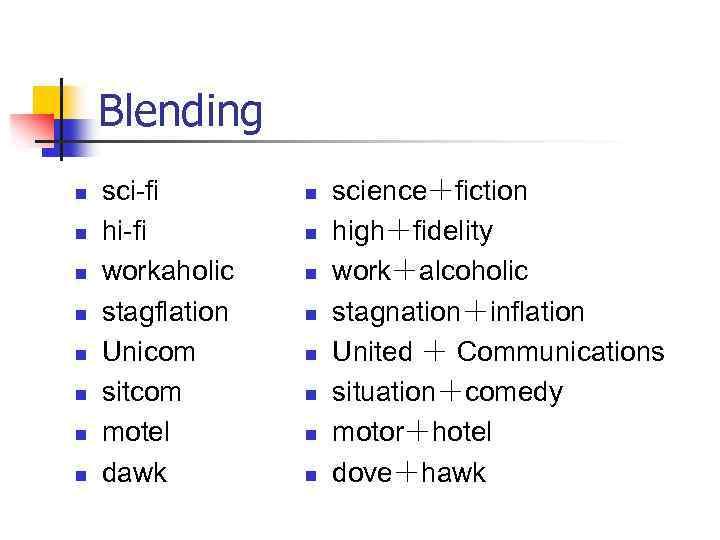 Blending n n n n sci-fi hi-fi workaholic stagflation Unicom sitcom motel dawk n