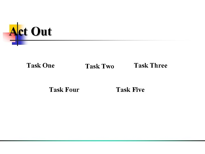 Act Out Task One Task Four Task Two Task Three Task Five