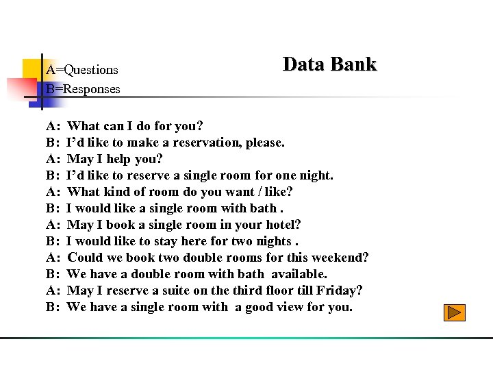 A=Questions B=Responses Data Bank A: What can I do for you? B: I'd like