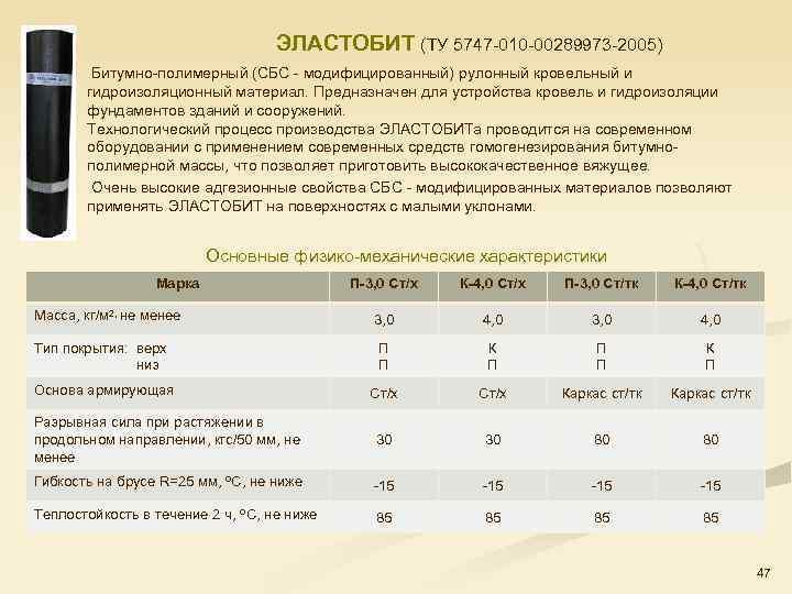 ЭЛАСТОБИТ (ТУ 5747 010 00289973 2005) Битумно полимерный (СБС модифицированный) рулонный кровельный и гидроизоляционный