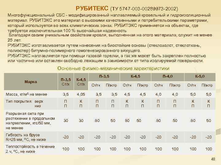 РУБИТЕКС (ТУ 5747 003 00289973 2002) Многофункциональный СБС модифицированный наплавляемый кровельный и гидроизоляционный материал.