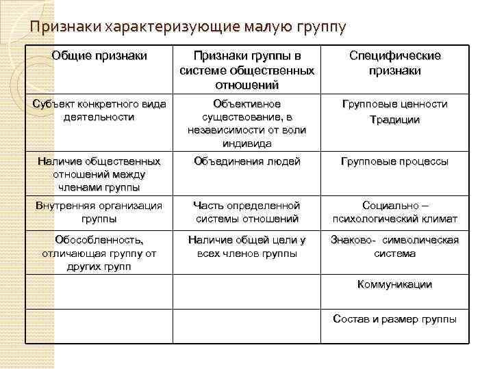 Признаки характеризующие малую группу Общие признаки Признаки группы в системе общественных отношений Специфические признаки