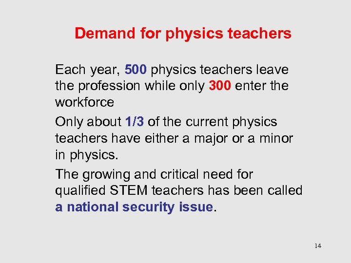 Demand for physics teachers Each year, 500 physics teachers leave the profession while only