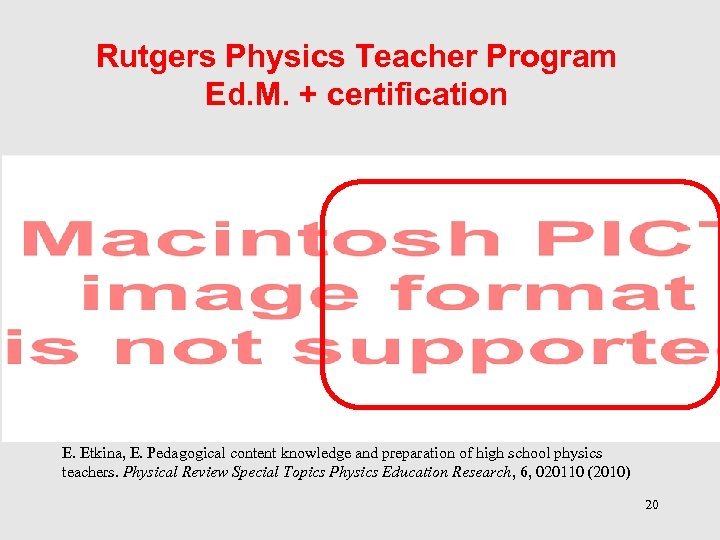 Rutgers Physics Teacher Program Ed. M. + certification E. Etkina, E. Pedagogical content knowledge