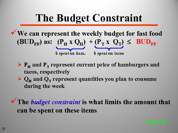 The Budget Constraint üWe can represent the weekly budget for fast food (BUDFF) as: