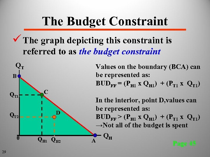 The Budget Constraint ü The graph depicting this constraint is referred to as the