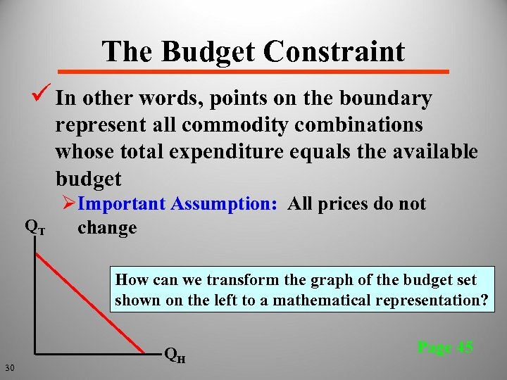 The Budget Constraint ü In other words, points on the boundary represent all commodity