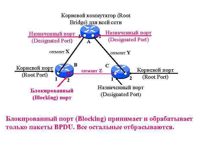Корневой коммутатор (Root Bridge) для всей сети Назначенный порт 1 (Designated Port) А 2