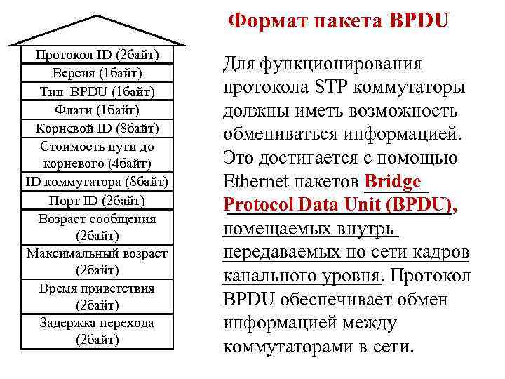 Формат пакета BPDU Протокол ID (2 байт) Версия (1 байт) Тип BPDU (1 байт)