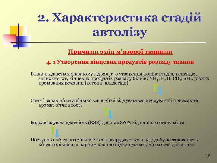 2. Характеристика стадій автолізу Причини змін м'язової тканини 4. 1 Утворення кінцевих продуктів розпаду