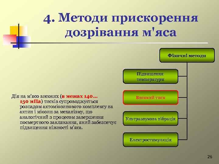 4. Методи прискорення дозрівання м'яса Фізичні методи Підвищення температури Дія на м'ясо високих (в