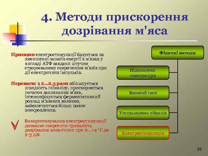 4. Методи прискорення дозрівання м'яса Принцип електростимуляції базується на зменшенні запасів енергії в м'язах