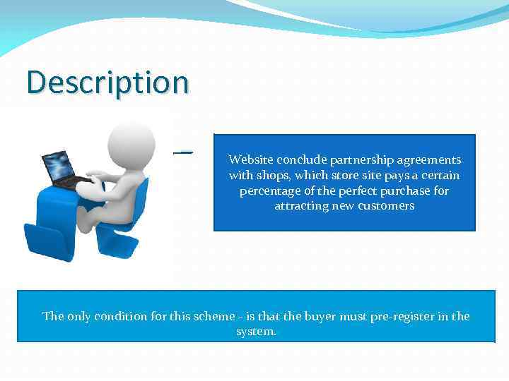 Description Website conclude partnership agreements with shops, which store site pays a certain percentage