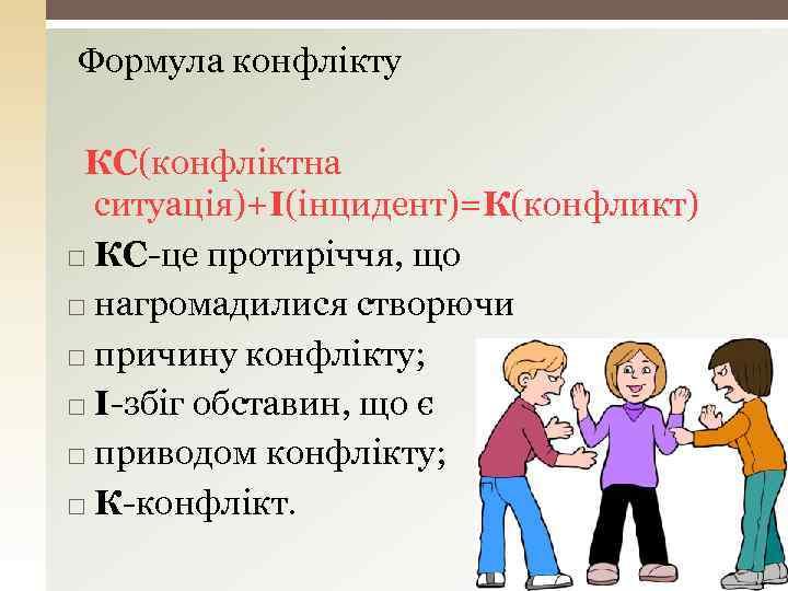Формула конфлікту КС(конфліктна ситуація)+І(інцидент)=К(конфликт) КС-це протиріччя, що нагромадилися створючи причину конфлікту; І-збіг обставин, що