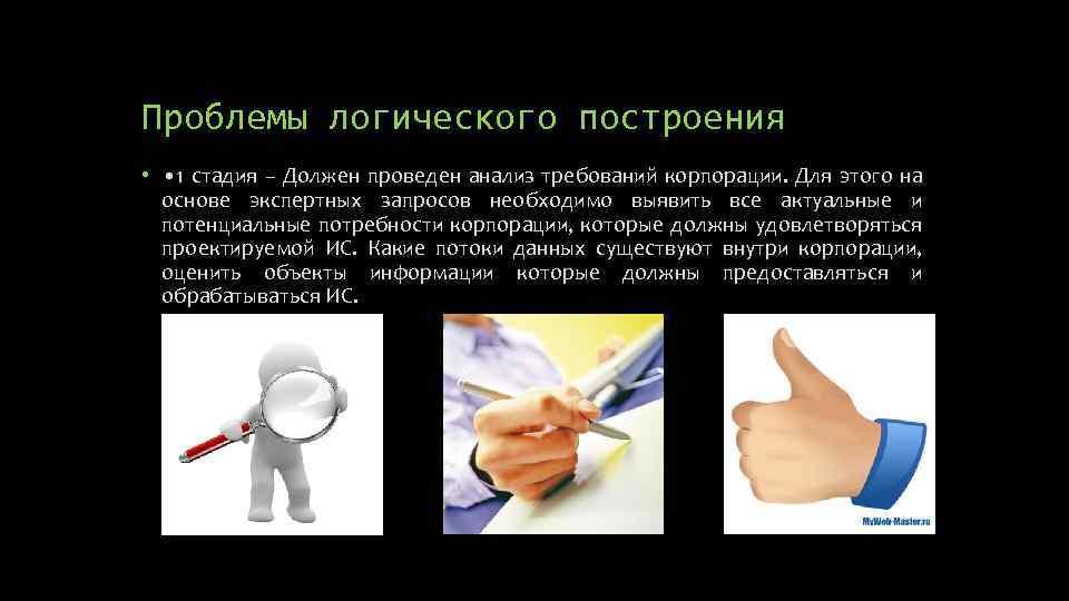 Проблемы логического построения • • 1 стадия – Должен проведен анализ требований корпорации. Для