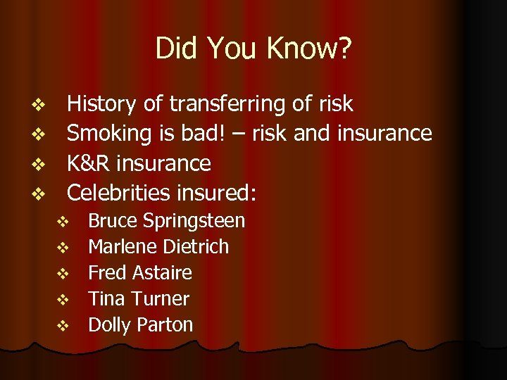 Did You Know? History of transferring of risk v Smoking is bad! – risk