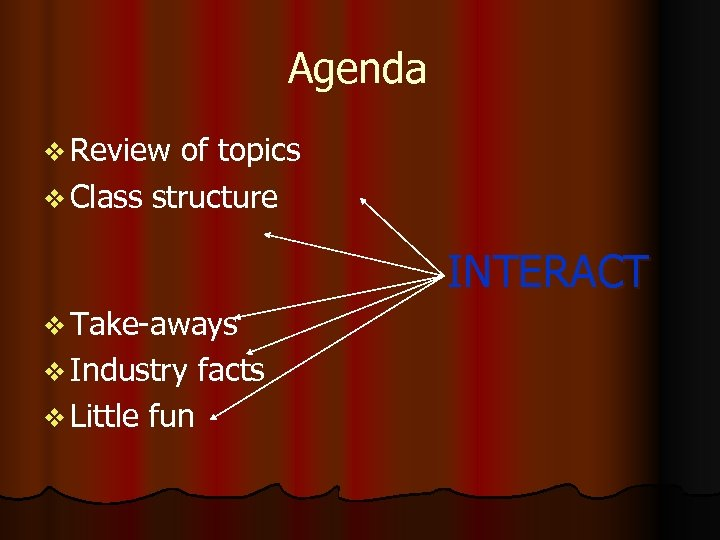 Agenda v Review of topics v Class structure INTERACT v Take-aways v Industry facts