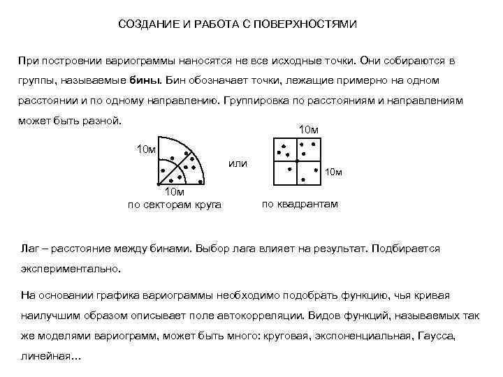СОЗДАНИЕ И РАБОТА С ПОВЕРХНОСТЯМИ При построении вариограммы наносятся не все исходные точки. Они