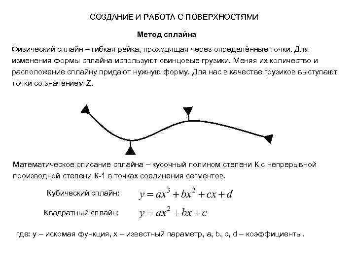 СОЗДАНИЕ И РАБОТА С ПОВЕРХНОСТЯМИ Метод сплайна Физический сплайн – гибкая рейка, проходящая через