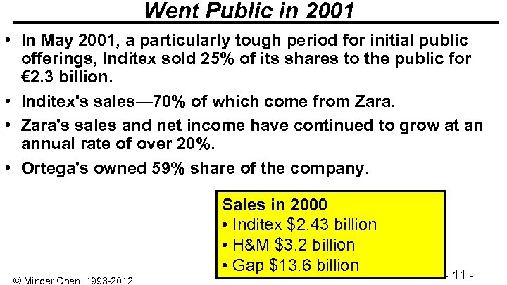 Went Public in 2001 • In May 2001, a particularly tough period for initial