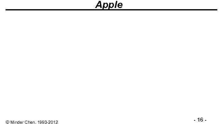 Apple © Minder Chen, 1993 -2012 - 16 -