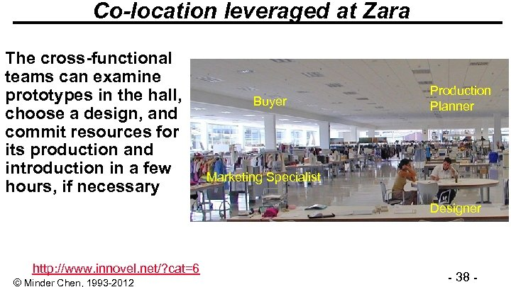 Co-location leveraged at Zara The cross-functional teams can examine prototypes in the hall, choose