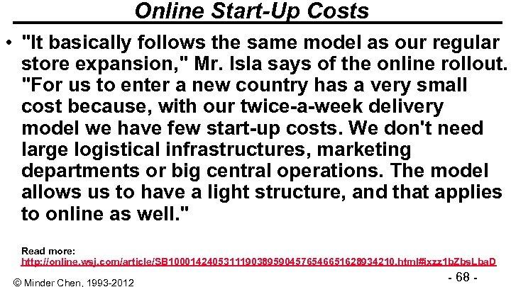 Online Start-Up Costs •