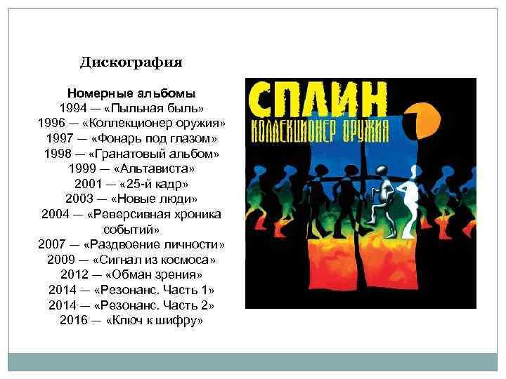Дискография Номерные альбомы 1994 — «Пыльная быль» 1996 — «Коллекционер оружия» 1997 — «Фонарь