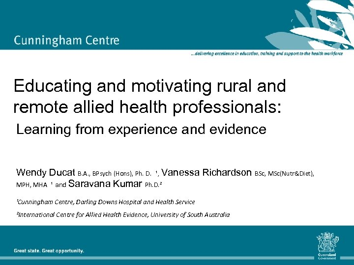 Educating and motivating rural and remote allied health professionals: Learning from experience and evidence