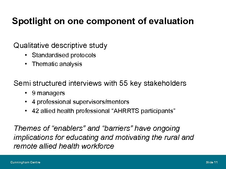 Spotlight on one component of evaluation Qualitative descriptive study • Standardised protocols • Thematic