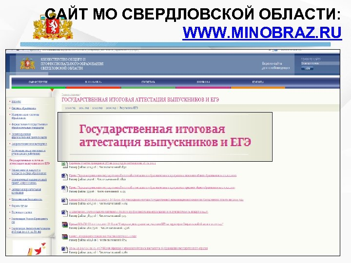 САЙТ МО СВЕРДЛОВСКОЙ ОБЛАСТИ: WWW. MINOBRAZ. RU
