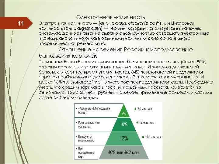 11 Электронная наличность — (англ. e-cash, eleclronic cash) или Цифровая наличность (англ. digital cash)