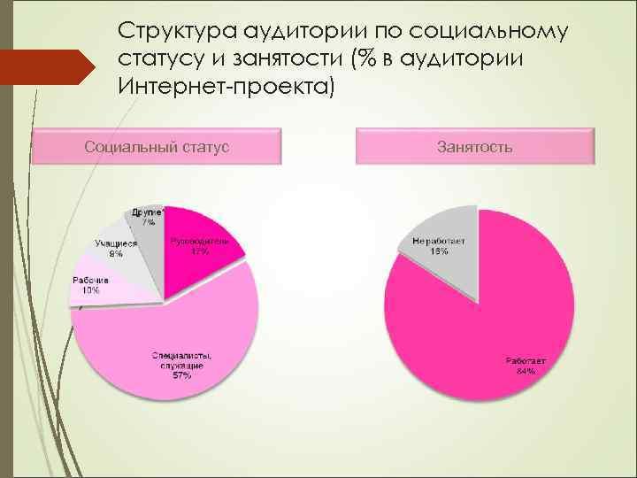 Структура аудитории по социальному статусу и занятости (% в аудитории Интернет-проекта) Социальный статус Занятость