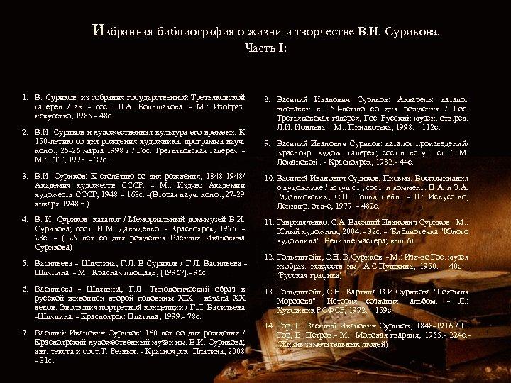 избранная библиография о жизни и творчестве В. И. Сурикова. Часть I: 1. В. Суриков: