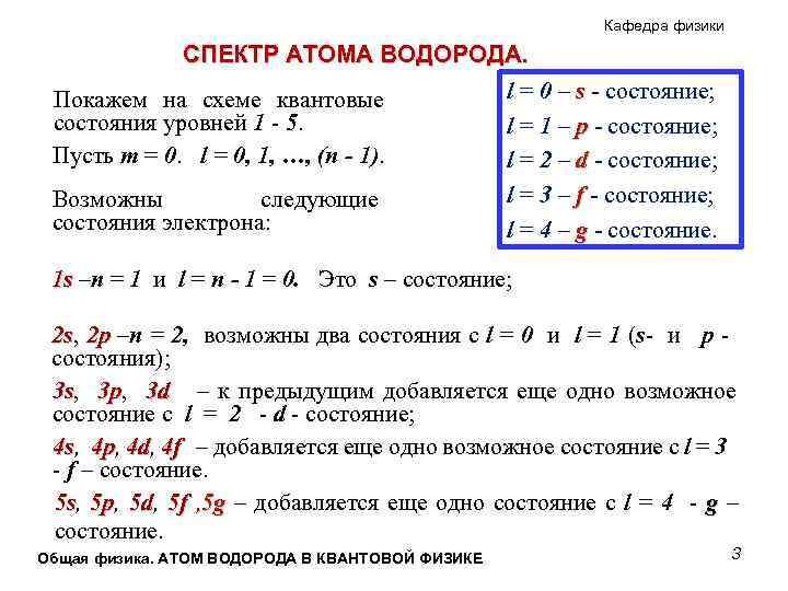 Кафедра физики СПЕКТР АТОМА ВОДОРОДА. l = 0 – s - состояние; Покажем на